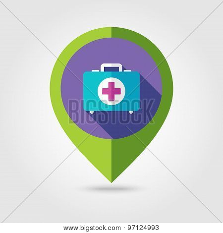 First Aid Flat Mapping Pin Icon With Long Shadow