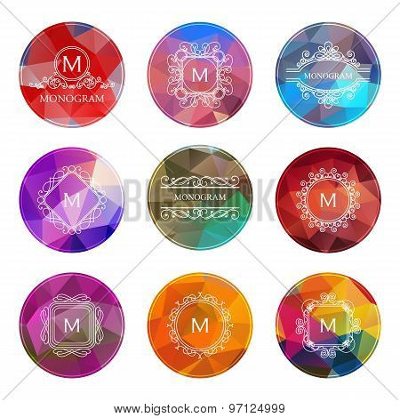 Set of outline monograms and logo design geometric templates. Abstract monograms design polygonal el