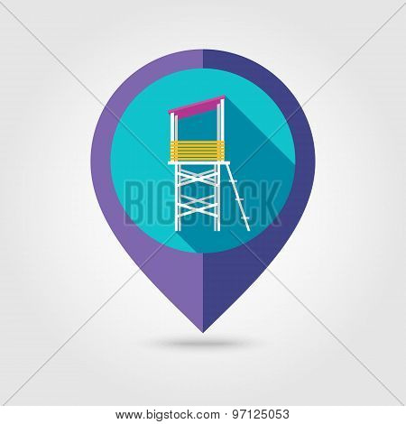 Lifeguard Tower Flat Mapping Pin Icon