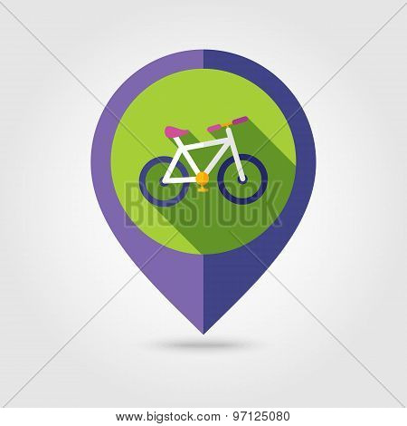 Bicycle Flat Mapping Pin Icon With Long Shadow