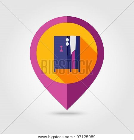 Cloakroom On The Beach Flat Mapping Pin Icon