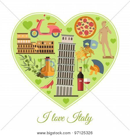 I love Italy. Italy travel background with place for text. Isolated heart shape with Italy flat icon