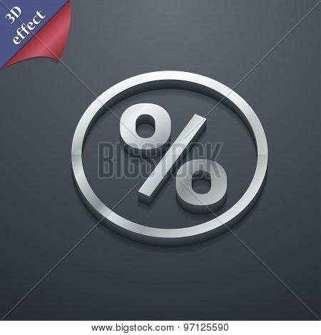 Percentage Discount Icon Symbol. 3D Style. Trendy, Modern Design With Space For Your Text Vector