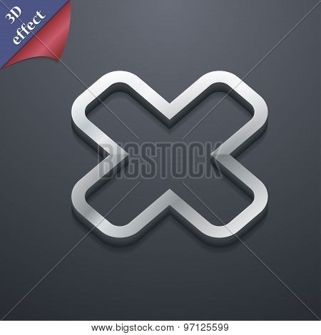 Cancel Icon Symbol. 3D Style. Trendy, Modern Design With Space For Your Text Vector