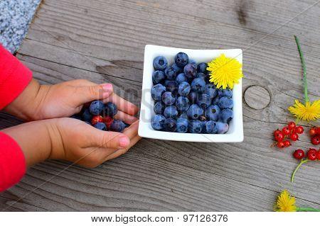 Fresh Fruit In Little Children´s Arm