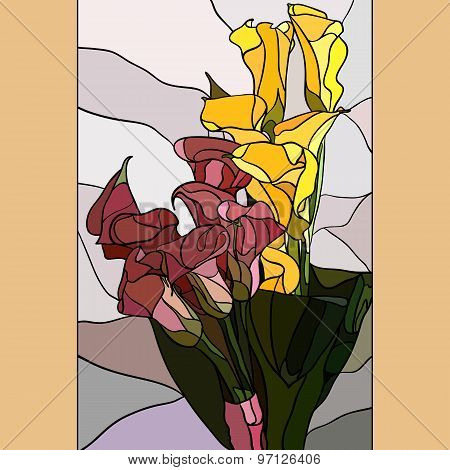 Flowers Calla Lilies In The Style Of Stained Glass