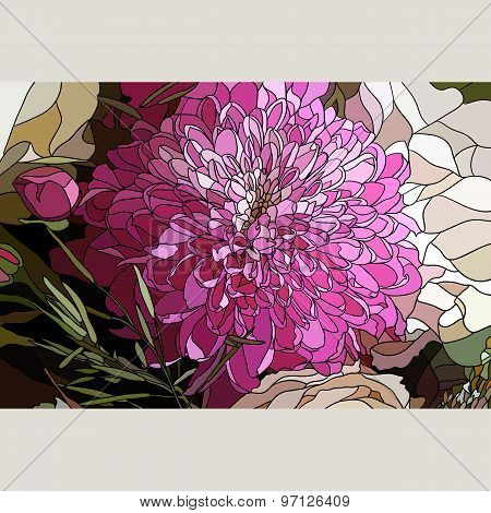 The Chrysanthemum Flower In The Style Of Mosaic