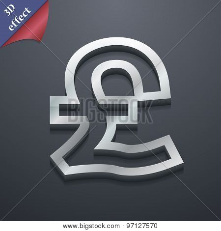 Pound Sterling Icon Symbol. 3D Style. Trendy, Modern Design With Space For Your Text Vector
