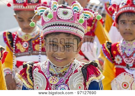 Sri Lanka children involved in the Katina festival which held according to the buddhist culture in f