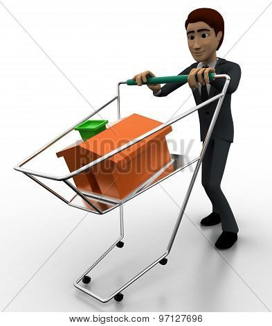 3D Man With Cart And Small Home In It Concept