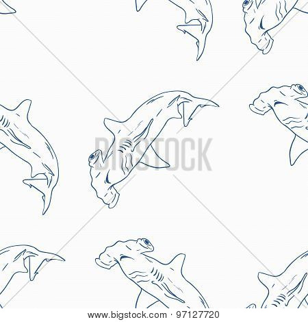 Hammerhead Shark Seamless Vector Pattern