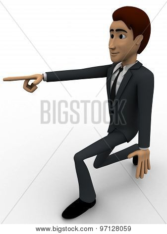 3D Man Pointing At Someone Concept