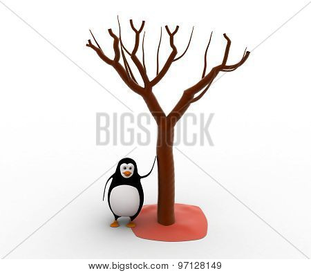 3D Penguin With Three Of Autunm Concept