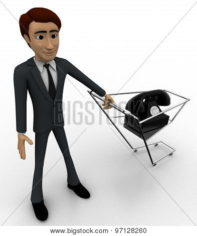3D Man With Telephone In Cart Concept