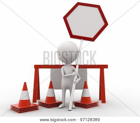 3D Man Presenting Stop Barrier / Under Construction Concept