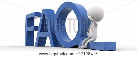 3D Man Presenting Faq Concept