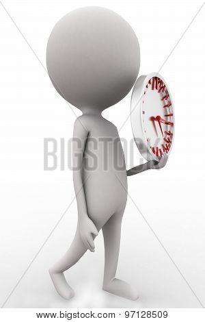 3D Man Holding Time Piece Concept