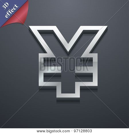 Yen Jpy Icon Symbol. 3D Style. Trendy, Modern Design With Space For Your Text Vector