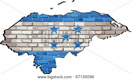 Honduras Map On A Brick Wall