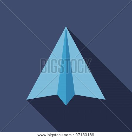 Paper Airplane Icon. Flat Vector Icon With Long Shadow Design Collection.