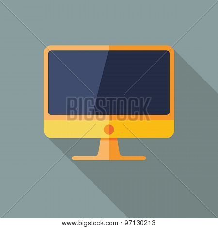 Computer Icon. Flat Vector Icon With Long Shadow Design Collection.