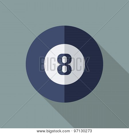 Snooker Eight Ball Icon. Flat Vector Icon With Long Shadow Design Collection.
