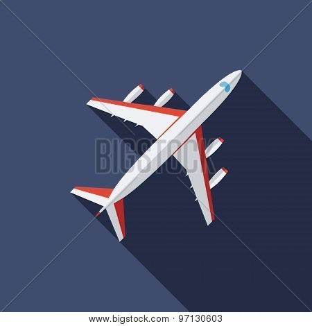 Airplane Icon. Flat Vector Icon With Long Shadow Design Collection.