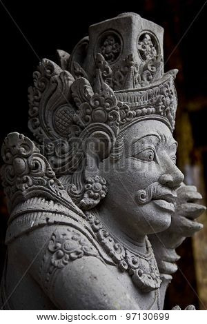 Close Up Portrait Of A Typical Balinese Statue