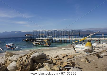 Gili Islands Harbour In Indonesia