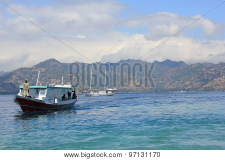 Boat With An Indonesian Man Arriving