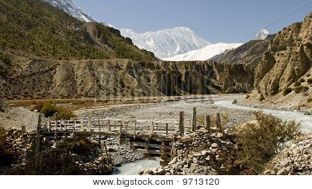 Bridge on the River near Manang on the way to Annapurna Base Camp