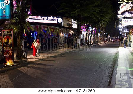 Kuta Main Street At Night