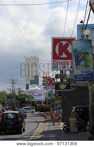 Street Along Kuta Beach