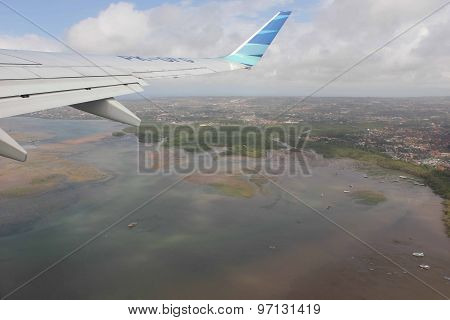 View Of The Island From The Airplane