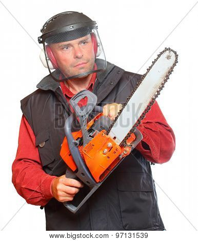 The Lumberjack with chainsaw isolated on white background.