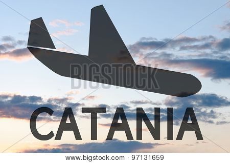 Airplane landing on Catania airport