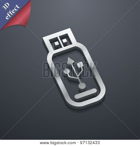 Usb Flash Drive Icon Symbol. 3D Style. Trendy, Modern Design With Space For Your Text Vector