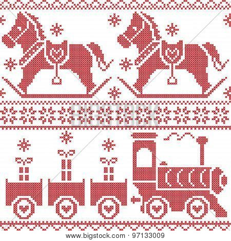 Scandinavian seamless nordic christmas  pattern with rocking horse, stars, snowflakes, hearts, xmas