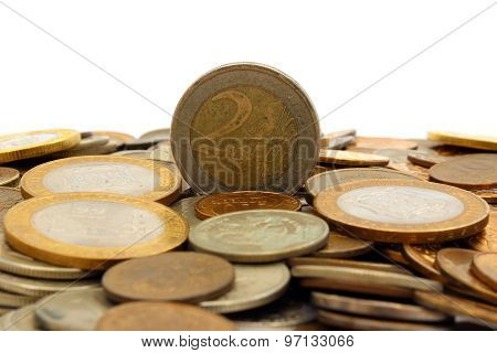 Euro Coins On A Hill Russian Coins