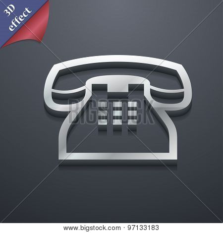 Retro Telephone Handset Icon Symbol. 3D Style. Trendy, Modern Design With Space For Your Text Vector