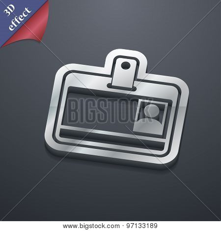 Id Card Icon Symbol. 3D Style. Trendy, Modern Design With Space For Your Text Vector