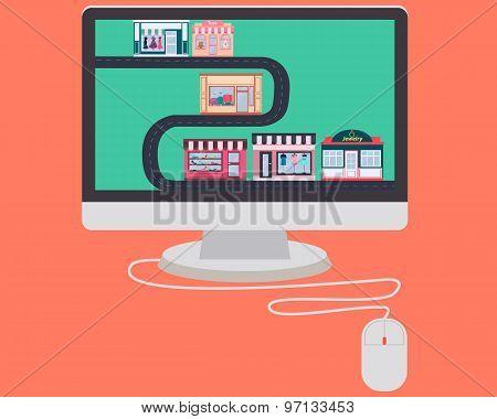 Concept online shop. Shopping through Internet. Vector illustration