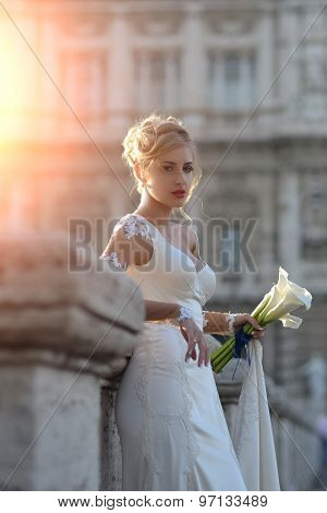Pretty Bride On Bridge