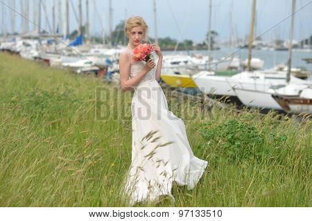 Bride With Bouquet In Yacht Club