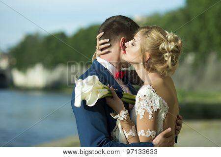 Sweet Wedding Couple Outdoor