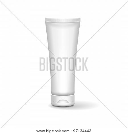 Tube Of Cream Or Gel Grayscale  White Clean. Ready For Your Design. Product Packing Vector