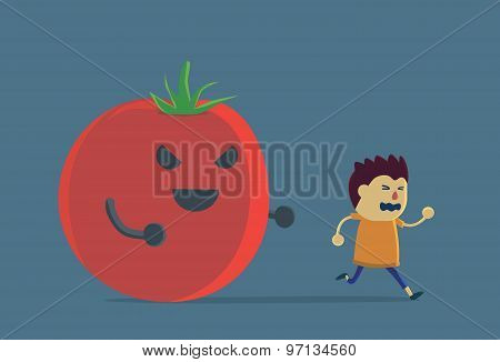 Little boy run away from tomato