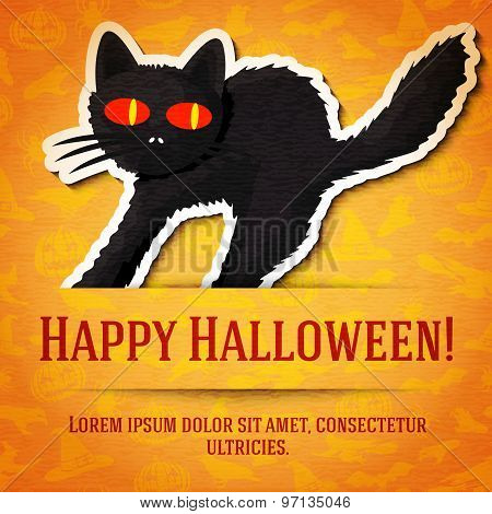 Happy halloween greeting card with black startled cat sticker cut from the paper.
