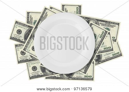 Dollar Banknotes Under Plate