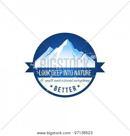 Look deep into nature label on white background